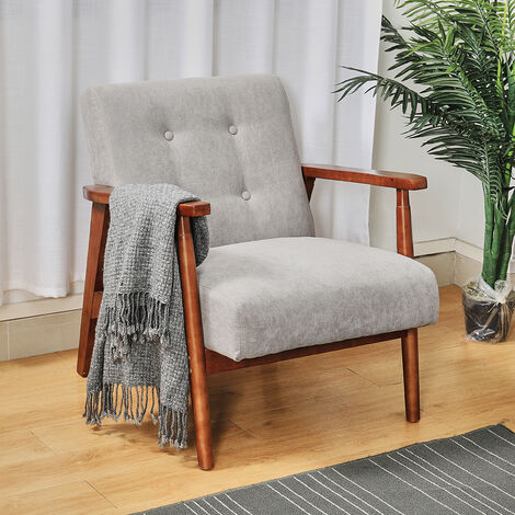 """main image of """"Retro Solid Wooden Frame Fabric Linen Tub Chair Armchair Seat Fireside"""""""