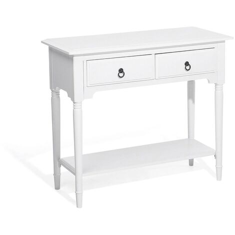 """main image of """"Retro Style Decorative 2-Drawer Console Vintage Table with Shelf White Lowell"""""""