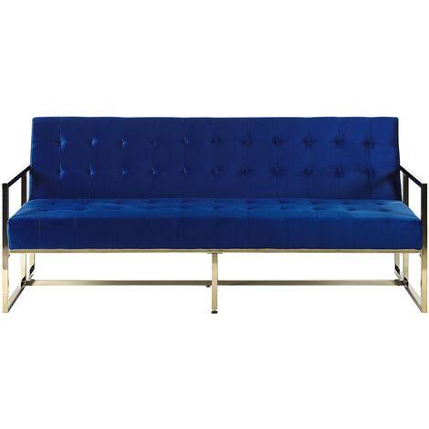 Retro Style Sofa Bed Gold Metal Frame Tufted Velvet Upholstery Blue Marstal