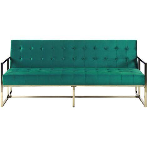 Retro Style Sofa Bed Gold Metal Frame Tufted Velvet Upholstery Green Marstal
