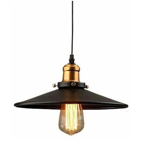 """main image of """"Rétro Suspension industrielle 26cm Lustre Abat-Jour Lampe de Plafond luminaire E27 Noir"""""""