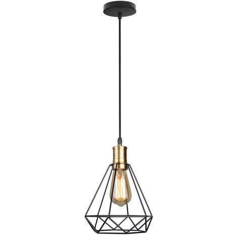 Retro Suspension Industrielle LED Cage Diamant , Suspension Luminaire en Fer E27, Noir et Idéal pour Salle à Manger, Salon, Chambre et Restaurant