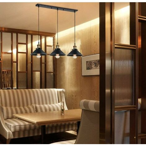 Rétro Suspension Luminaire Industriel Barre de 3 Lampe, Lustre Abat-jour Vintage Plafonnier Lampe pour Salle à Manger Salon