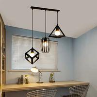 Retro Suspension Luminaire Industrielle 3 Tete Lustre Abat-jour Metal Noir Lampe de Plafond