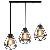 Retro Suspension Luminaire Industrielle E27 Lustre Lampe de Plafond Noir