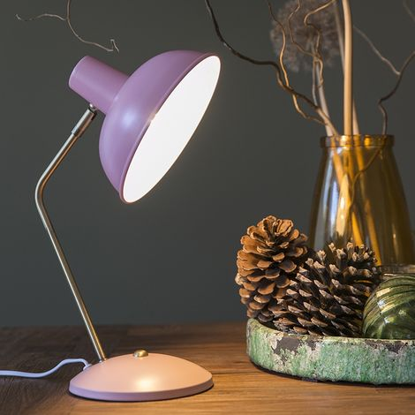 Retro table lamp pink with bronze - Milou