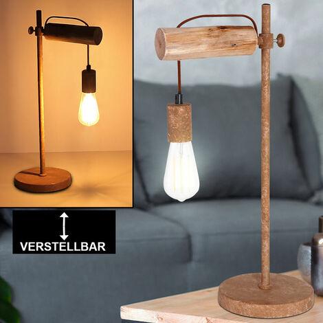 Retro Tisch Lampe Vintage Design Lese Leuchte Holz rostfarben Arbeits Schlaf Zimmer, Globo 15327TN