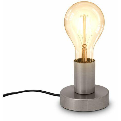 Retro Tischlampe Vintage Tischleuchte Wohnraum Flur Edison E27 matt-nickel