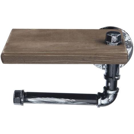 Retro urbano urbano tubo de hierro papel teléfono inodoro inodoro estante de madera almacenamiento Sasicare