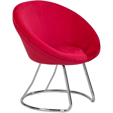 Retro Velvet Accent Chair Red Upholstery Round Seat Metal Base Floby