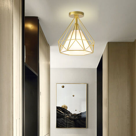 Retro Vintage Chandelier Metal Iron Cage Ceiling Light Diamond Shape 25CM Industrial Ceiling Lamp E27 for Restaurant Cafe