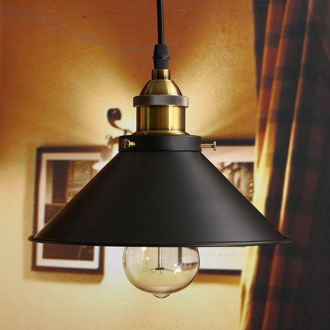 Retro Vintage Colgante de Luz 220mm E27 (Negro)Industrial Metal Pantalla de Iluminación Clásico Edison Decorativa Iluminación,Lámpara de Techo
