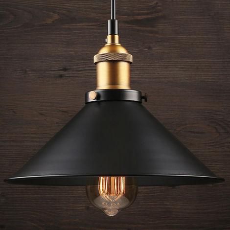 Retro Vintage Colgante de Luz 260mm E27 (Negro)Lámpara de Techo Industrial Metal Pantallas de Iluminación Clásico Edison Decorativa Iluminación para Loft Restaurante Coffee Bar