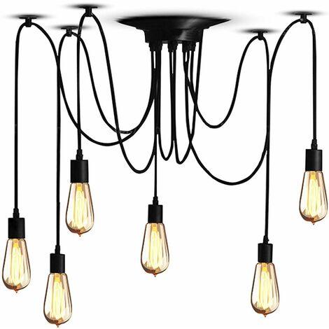 Retro Vintage Industrial Lámpara Colgante 6pcs Lámpara de Araña Múltiples Cabezas Luz de Techo Fácil Instalación para Sala de Estar Comedor Dormitorio Hogar Cocina Negro