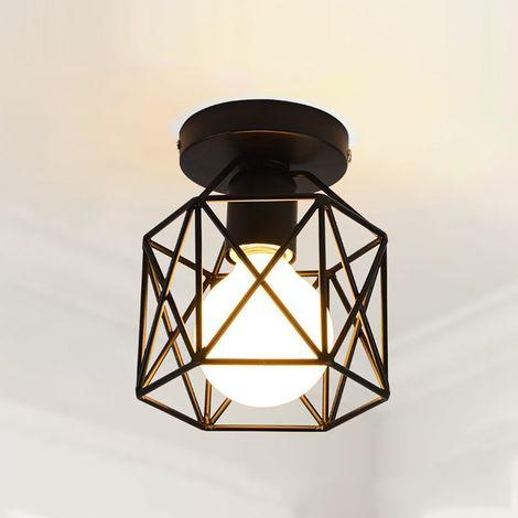 Retro Vintage Industrial Lámpara de Techo de interior Lámpara de Techo Metal de Luz de Techo al ras ligero para pasillo porche dormitorio Negro