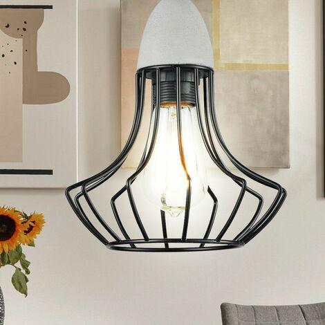 Retro vintage lámpara colgante de techo de estilo industrial jaula colgante luz negro Esto 18025