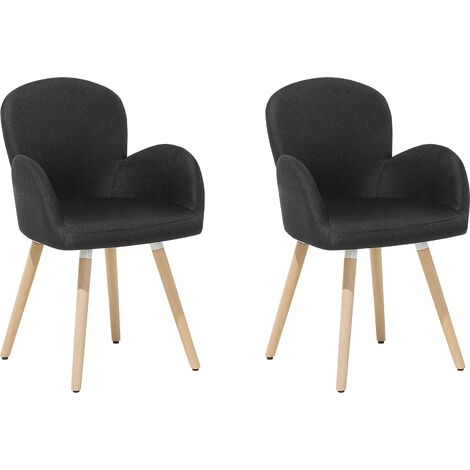 Retro Vintage Upholstered Chair Set Dining Room Kitchen Wooden Legs Black Brookville