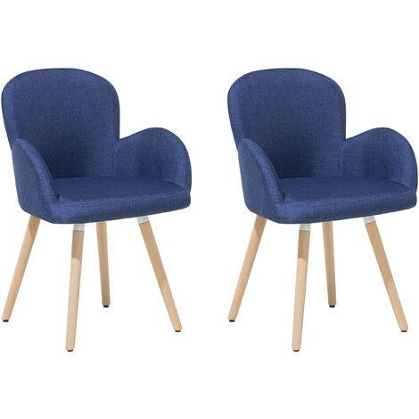 Retro Vintage Upholstered Chair Set Dining Room Kitchen Wooden Legs Blue Brookville