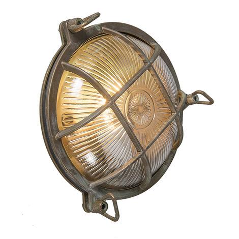 Retro wall lamp brown IP44 - Nautica round