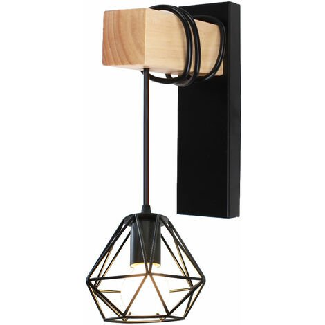 Retro Wall Light Industrial Black Cage Wall Lamp Sconce with Wooden Beam E27 Holder for Loft Bedroom