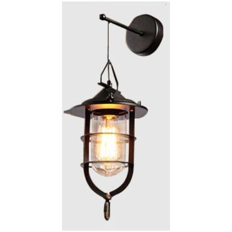 Retro Wall Light Industrial Style Wrought Iron Applique Personality Restaurant Bar Stairway Alley Balcony Outdoor Wall Lamp Mural-L Style