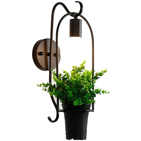 Retro Wall Light Industrial Style Wrought Iron Applique Personality Restaurant Bar Stairway Alley Balcony Outdoor Wall Lamp Wall-Plant Type