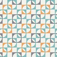 Retro Wallpaper Geometric Squares Tiles Orange Charcoal Teal White Rasch