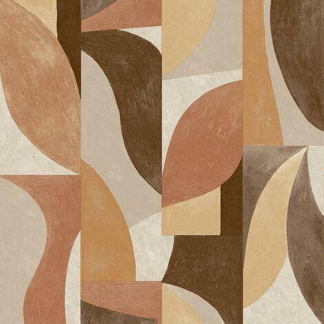 Retro Wallpaper Grandeco Geometric Beige Orange Brown Textured Vinyl