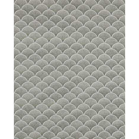 Retro wallpaper wall EDEM 1031-15 vinyl wallpaper embossed with graphical pattern glittering cream green white grey 5.33 m2 (57 ft2)