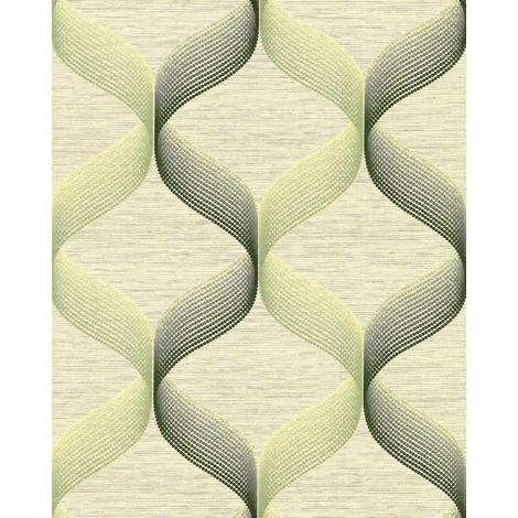 Retro wallpaper wall EDEM 1034-15 vinyl wallpaper textured with graphical pattern glittering green white 5.33 m2 (57 ft2)