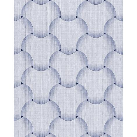 Retro wallpaper wall EDEM 1035-12 vinyl wallpaper textured with graphical pattern glittering white light-blue violet-blue 5.33 m2 (57 ft2)