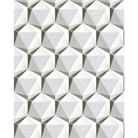 Retro wallpaper wall EDEM 1050-10 vinyl wallpaper slightly textured with geometric shapes subtly glittering cream beige grey platinum white 5.33 m2 (57 ft2)