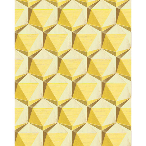 Retro wallpaper wall EDEM 1050-11 vinyl wallpaper slightly textured with geometric shapes subtly glittering ivory lemon yellow ochre yellow 5.33 m2 (57 ft2)