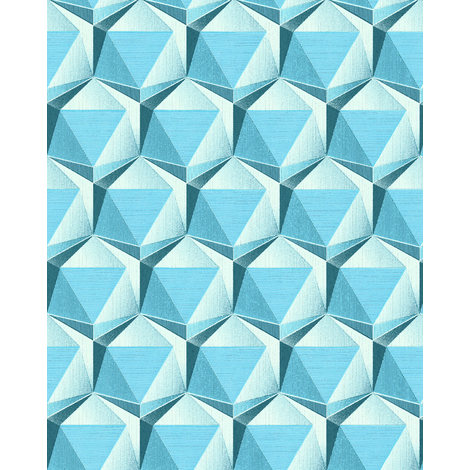 Retro wallpaper wall EDEM 1050-12 vinyl wallpaper slightly textured with geometric shapes subtly glittering cream light blue ocean blue 5.33 m2 (57 ft2)