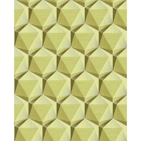 Retro wallpaper wall EDEM 1050-15 vinyl wallpaper slightly textured with geometric shapes subtly glittering beige green beige olive green 5.33 m2 (57 ft2)