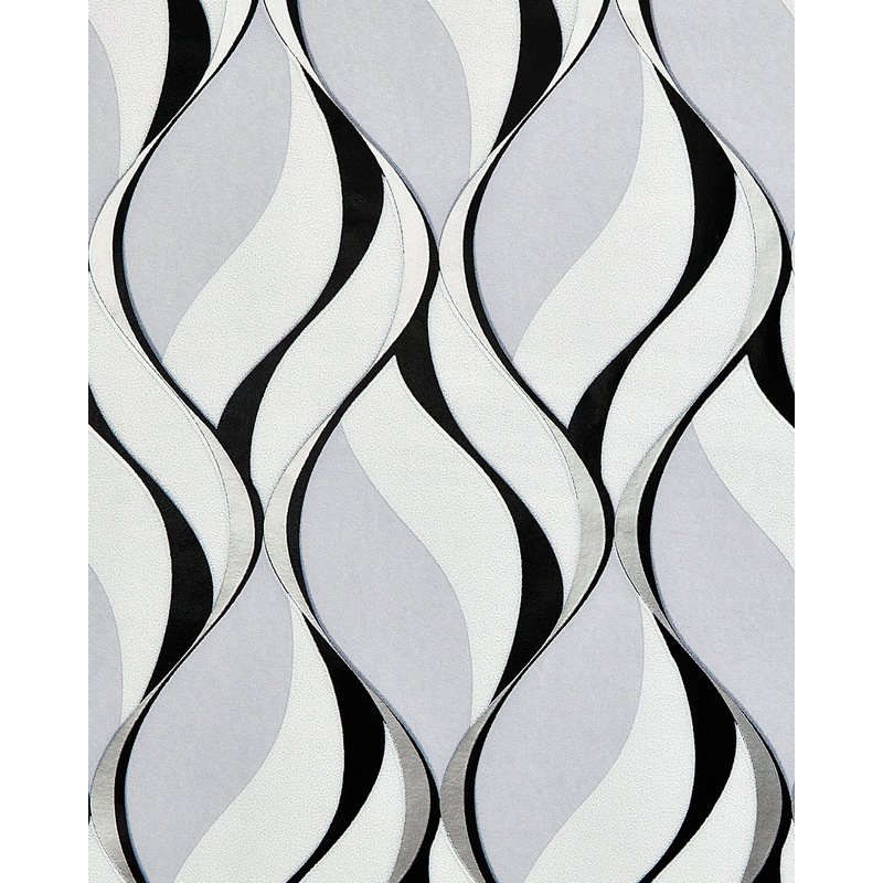 Retro Wallpaper Wall Edem 1054 10 Vinyl Wallpaper Slightly Textured With Graphical Pattern And Metallic Highlights Grey Black Silver Platinum 5 33 M2