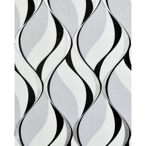 Retro wallpaper wall EDEM 1054-10 vinyl wallpaper slightly textured with graphical pattern and metallic highlights grey black silver platinum 5.33 m2 (57 ft2)