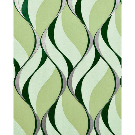 Retro wallpaper wall EDEM 1054-15 vinyl wallpaper slightly textured with graphical pattern and metallic highlights green moss green pastel green silver 5.33 m2 (57 ft2)