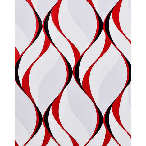 Retro wallpaper wall EDEM 1054-16 vinyl wallpaper slightly textured with graphical pattern and metallic highlights grey red black 5.33 m2 (57 ft2)