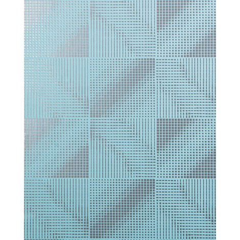 Retro wallpaper wall EDEM 85071BR32 wallpaper slightly textured with abstract pattern and metallic highlights turquoise blue silver 5.33 m2 (57 ft2)
