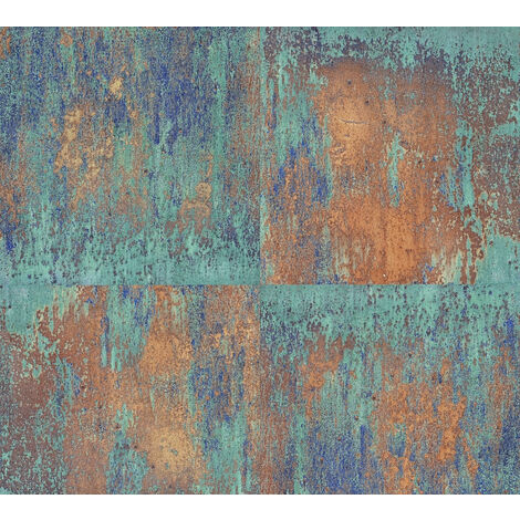 Retro wallpaper wall Profhome 361181-GU non-woven wallpaper smooth retro style matt blue brown 5.33 m2 (57 ft2)