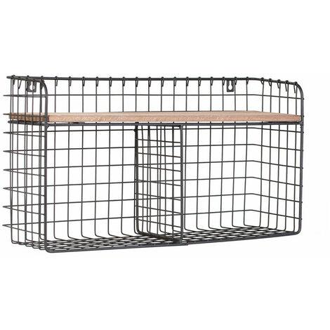 Retro Wood Industrial Style Metal Wire Shelf Wall Rack Desktop Apart Organiser