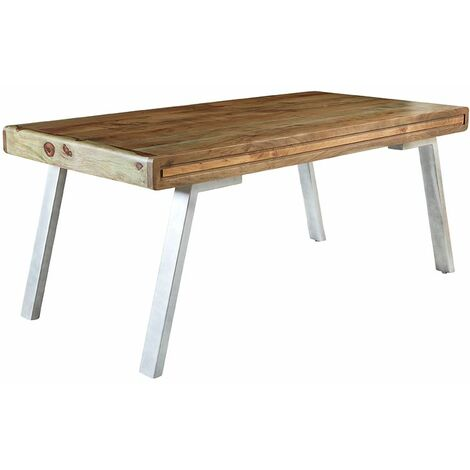 Retro Wood & Metal Medium Dining Table - Two-Tone