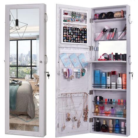 "main image of ""Retro Wood Whole Body Mirror Decoration Storage Mirror Jewelry Mirror Cabinet White"""