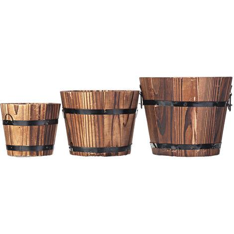 Retro Wooden Barrel Flower Pot Decoration