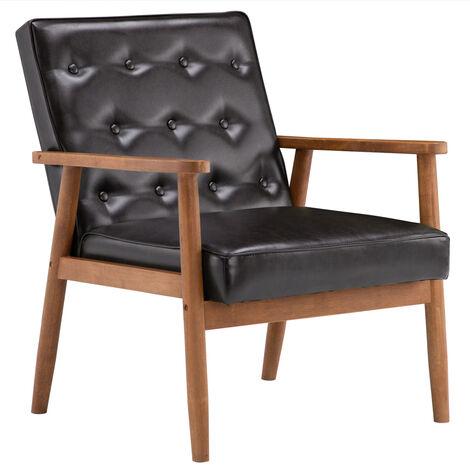 "main image of ""Retro wooden lounge armchair, indoor pu single sofa chair bedroom living room Brown - Brown"""