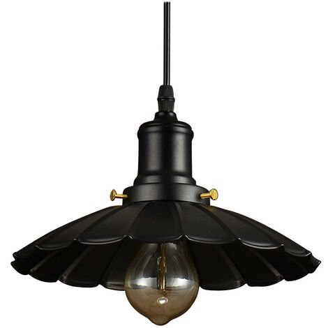 Retro Wrought Iron Country Chandelier, UFO Creative Lighting, Simple Umbrella Chandelier, Black (Without Light Source)