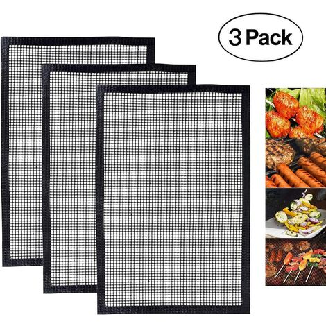 Reusable BBQ Grill Mat, Non-stick BBQ or Yogurt Maker Cooking Mat, Compatible Works Well with Electric BBQ, Oven, Gas, Charcoal - 3 Pcs (40 * 34CM)