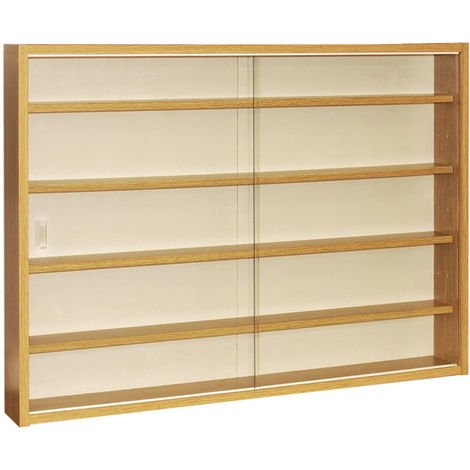 REVEAL - 4 Shelf Glass Wall Collectors Display Cabinet - Oak