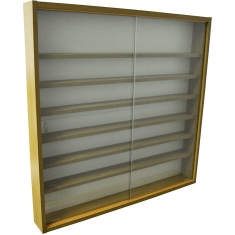 REVEAL - 6 Shelf Glass Wall Collectors Display Cabinet - Oak
